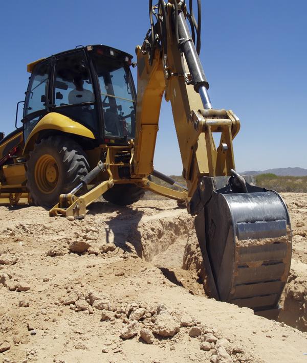 Contractor hand digging
